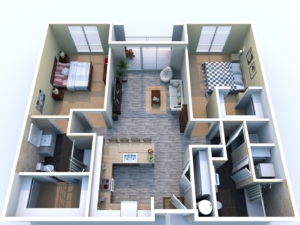 floor plan of 1 bed 2 bath apartment